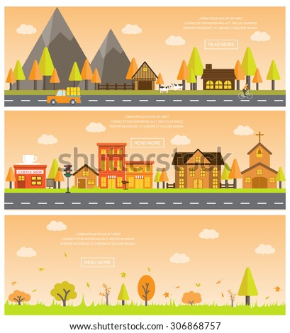 autumn cityscape of beautiful natural landscapes. Can be used for statistic , business data, one page web design, info chart, brochure template. vector  illustration - stock vector