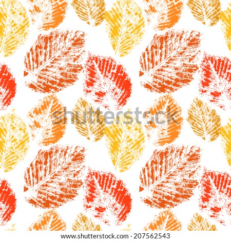 Autumn colorful leaves prints on white seamless pattern, vector - stock vector