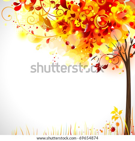 autumn composition with bright tree - stock vector