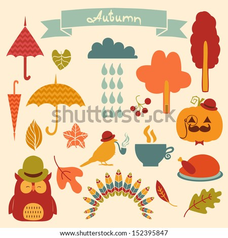 Autumn  Elements Set - for scrapbook, design, invitation, greetings - stock vector
