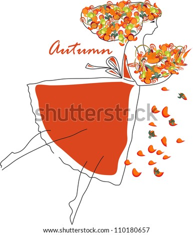 autumn fairy - stock vector