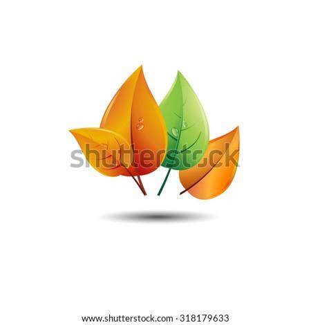 autumn fall season vector design nature background - stock vector