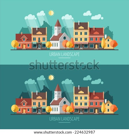 Autumn - flat design urban landscape illustration - stock vector
