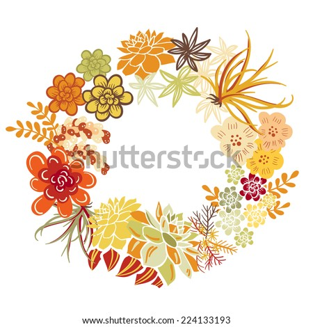 Autumn Floral Frame. Cute succulents arranged un a shape of the wreath perfect for wedding invitations and birthday cards  - stock vector