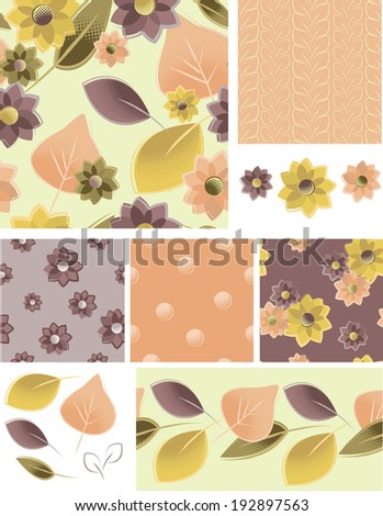 Autumn Floral Vector Seamless Patterns and Elements. Use as fills, digital paper, or print off onto fabric to create unique items. - stock vector