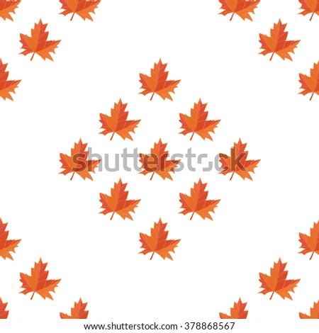 Autumn foliage in different colors on white background. Seamless pattern. - stock vector