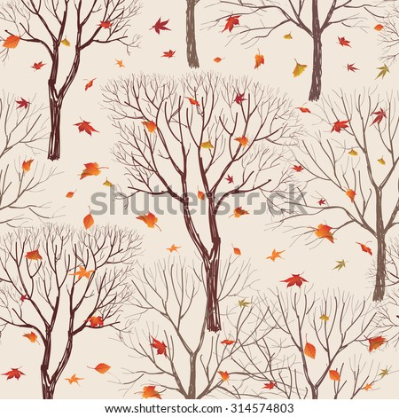 Autumn forest pattern. Fall leaves and trees seamless background. Vintage Christmas elements. Plant floral seamless pattern background. Editable vector texture. - stock vector