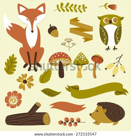 Autumn forest, woodland animals, flowers and ribbons - stock vector