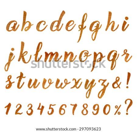 Autumn golden hand drawn font for your design. Creative vector illustration. - stock vector