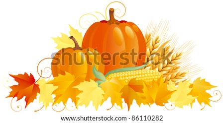 Autumn Harvest. Vector group of vegetables isolated on white background. - stock vector