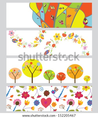 Autumn horizontal banners set funny design - stock vector