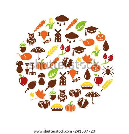 autumn icons in circle - stock vector