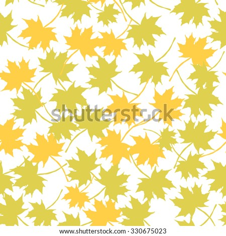 Autumn imprint leaves pattern background. Colored art vector autumn leaves pattern. Fabric texture. Beautiful seamless texture background imprint. Gold maple leaves on white  background. - stock vector