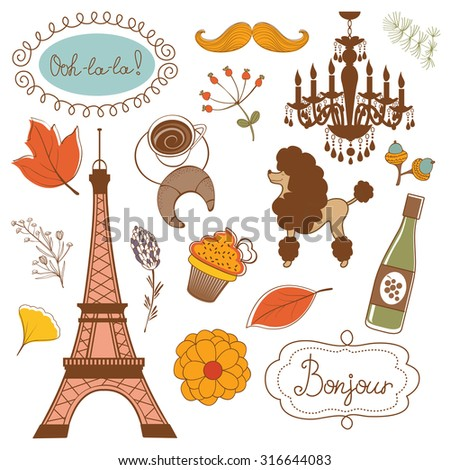Autumn in Paris. Elegant set with Eiffel tower flowers birds   cupcakes and other graphic elements. Vector illustration - stock vector
