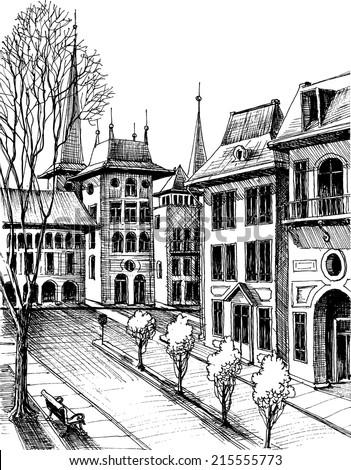Autumn in the city. Hand drawn outdoor vector sketch - stock vector