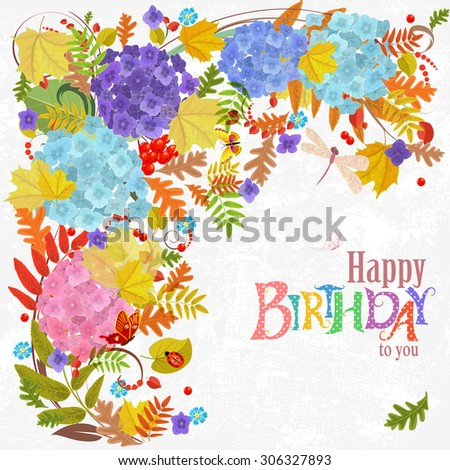 Autumn invitation card with floral elements for your design. Happy Birthday - stock vector