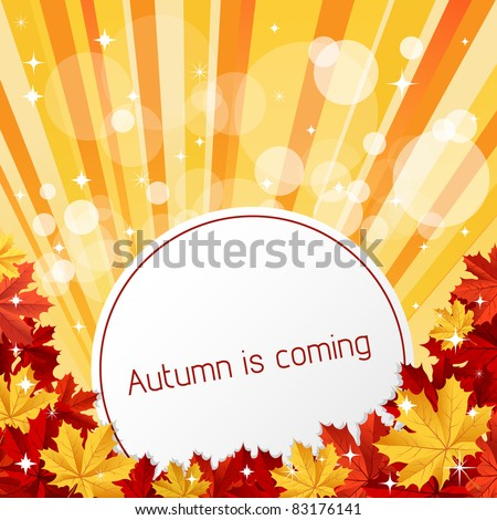 Autumn is coming. Vector illustration. - stock vector