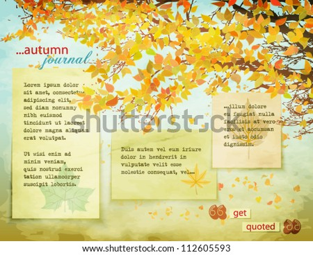 Autumn Journal - Background page with fall leaves on tree branches, falling leaves and worn, faded paper notes against the warm fall background - stock vector