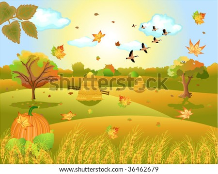 autumn landscape - stock vector