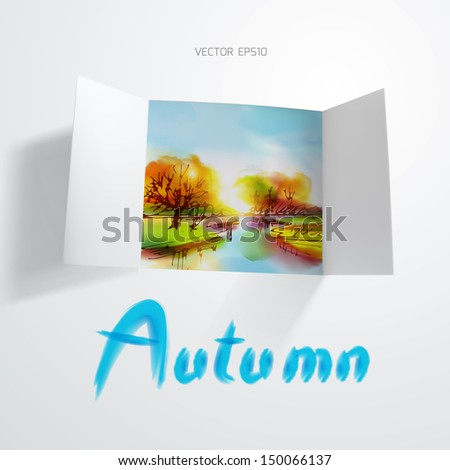 Autumn landscape behind a window from white paper.The illustration contains transparency and effects. EPS10 - stock vector