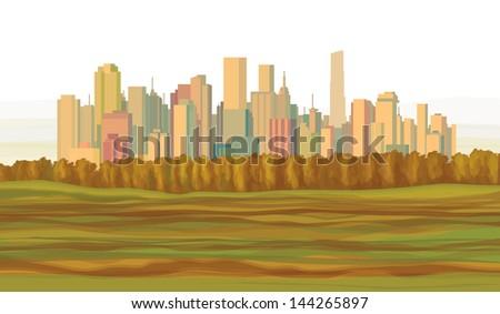 Autumn landscape cityscape. - stock vector