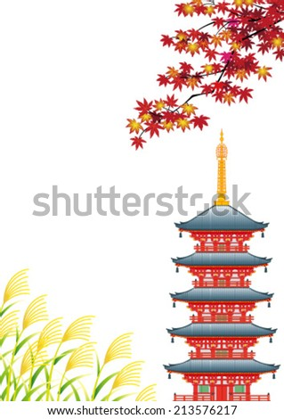 Autumn landscape in Asia, isolated on white background. - stock vector