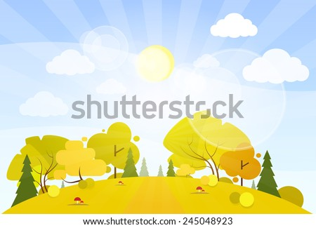 autumn landscape mountain forest road blue cloud sky with sun tree woods flat design vector illustration - stock vector