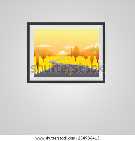 Autumn Landscape Poster in a Frame on Wall. Vector illustration. - stock vector