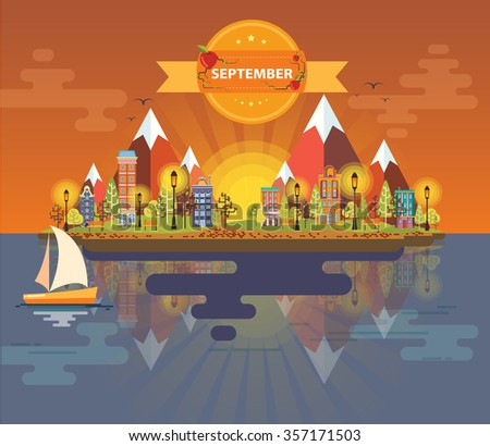 Autumn landscape. Small town. Set 5. Month of September. Infographics. Calendar. Mountain, nature, park, building, boat, sail, city. Flat design. Stock. Image. Illustration. Vector. - stock vector