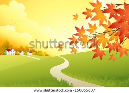 Autumn Landscape. Vector Background - stock vector