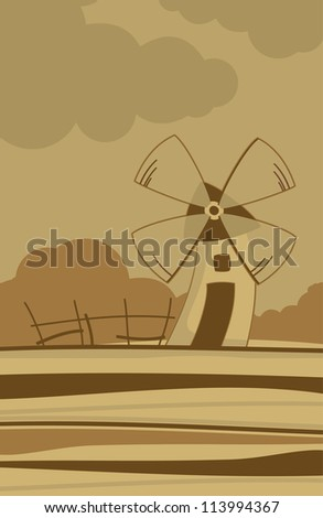 Autumn landscape with a windmill - stock vector