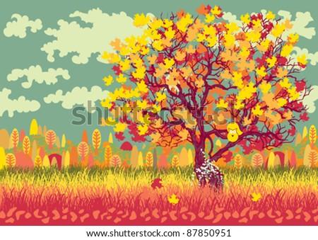 Autumn landscape with orange tree - stock vector