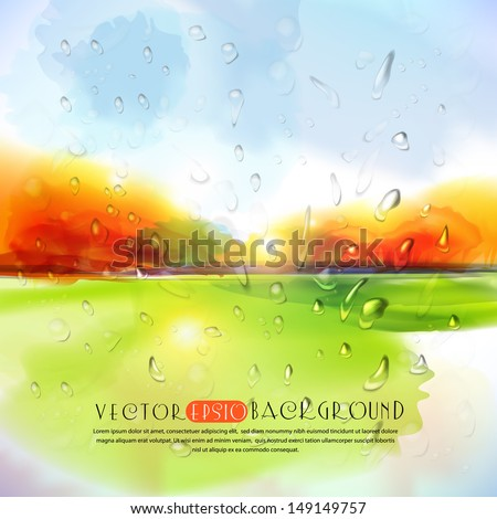Autumn landscape with rain drops.The illustration contains transparency and effects. EPS10 - stock vector
