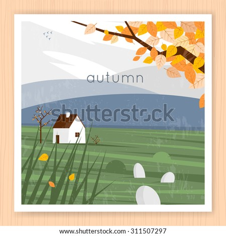 Autumn landscape with the house and leaves in the background of the mountains. Flat design vector illustration. - stock vector