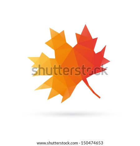Autumn leaf abstract isolated on a white backgrounds - stock vector