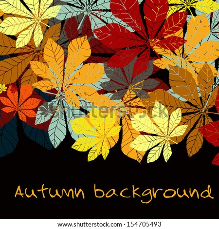 Autumn leaf chestnut collection - vector EPS silhouette - stock vector
