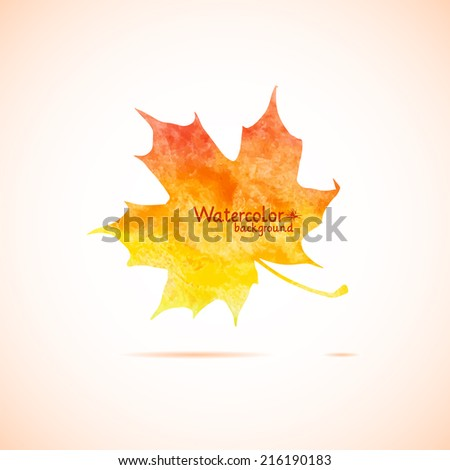 Autumn leaf made in vector, watercolor - stock vector