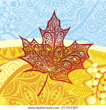 Autumn leaf vector illustration - stock vector