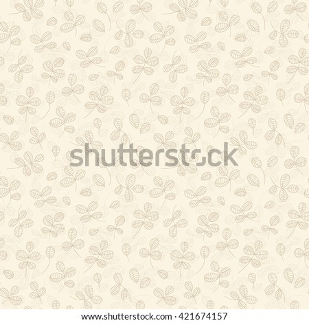Autumn leaves background - light yellow leaves pattern. Vector seamless pattern with simple herb branches, hand drawn vector illustration. Seamless floral background on light yellow . - stock vector