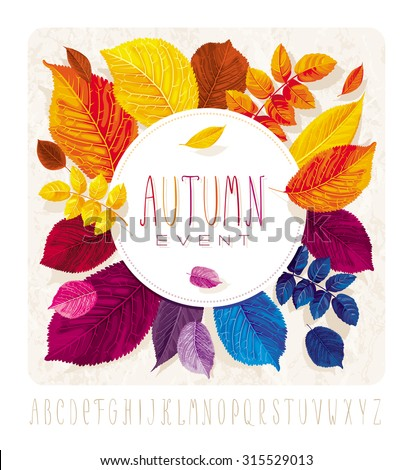 Autumn leaves card for events and sales with round label on grunge background without gradient fills. - stock vector
