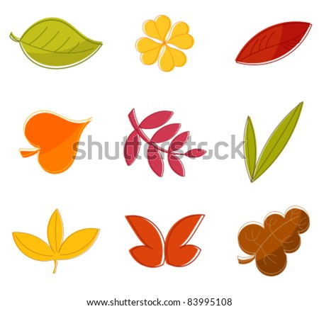 Autumn leaves collection - design vector elements - stock vector