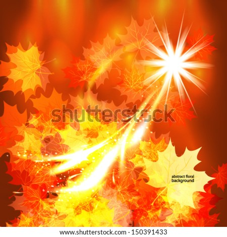Autumn leaves design background. - stock vector