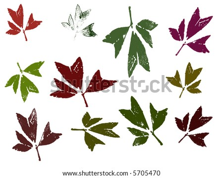 Autumn leaves, each separately grouped for ease of editing and coloring - stock vector
