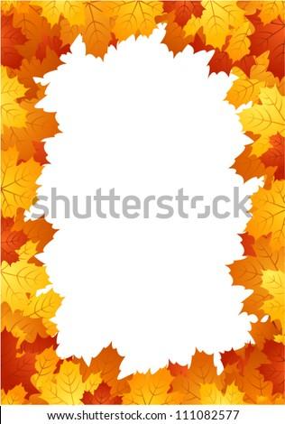 Autumn leaves frame. Vector illustration. - stock vector