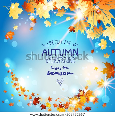 Autumn leaves on blue sky with place for text. Beautiful seasonal background - stock vector
