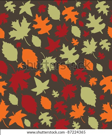 Autumn Leaves Repeat Pattern - 1 - stock vector