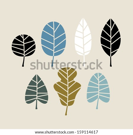 Autumn leaves silhouettes. Vector Illustration  - stock vector