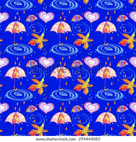 Autumn Maple leaf, Umbrella, Hearts and Rain Drops on Blue Background. Vector Seamless Pattern for wrapping paper, textiles or design websites - stock vector