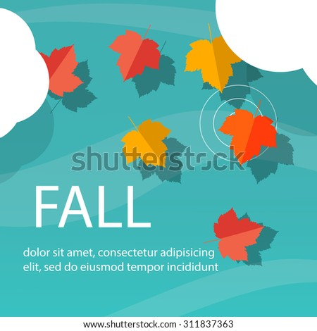 Autumn maple leaves on the water, top view, vector illustration - stock vector