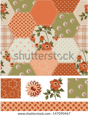 Autumn Patchwork Rose Seamless Patterns and Icons. Use as fills, digital paper, or print off onto fabric to create unique items. - stock vector